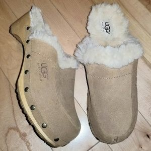UGG Kalie Tan leather & sheepskin lined mules